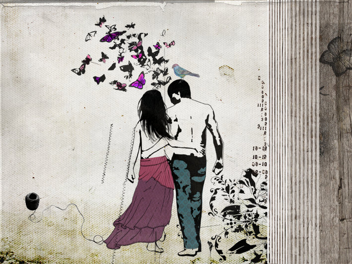 Romantic Love Drawings 19 Wide Wallpaper - Hdlovewall.com