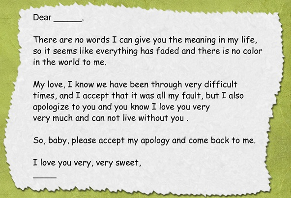 Romantic Apology Letters Sample Love Letters Letter Format Business