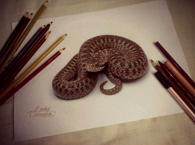 نقاشی سه بعدی مار کبری